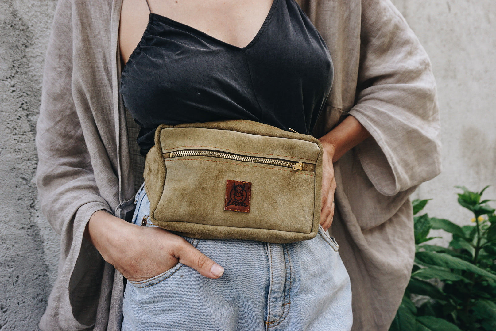 Soft suede leather waistbag