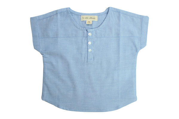 Blouse T by La Petite Collection - Blue Stripped Linen