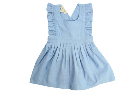 Flounced Dress by La Petite Collection - Blue Chambray