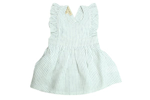 Flounced Dress by La Petite Collection - Blue Stripped Linen