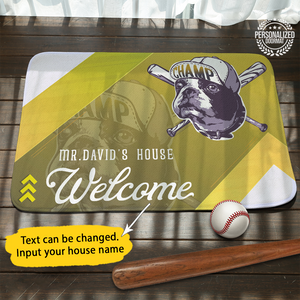 Personalized Baseball Dog Doormat