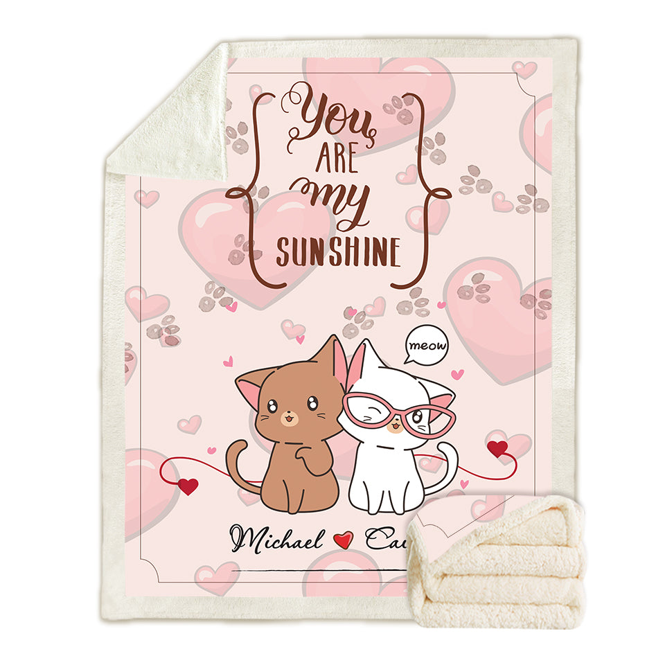 Cat Couple Personalized Blanket