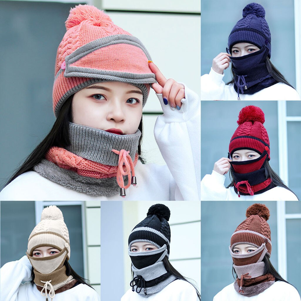 3 in 1 Women winter beanie set