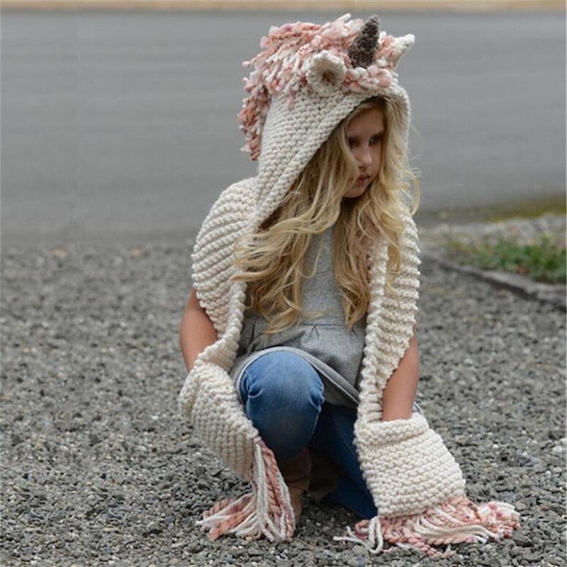 Unicorn crochet hooded scarf