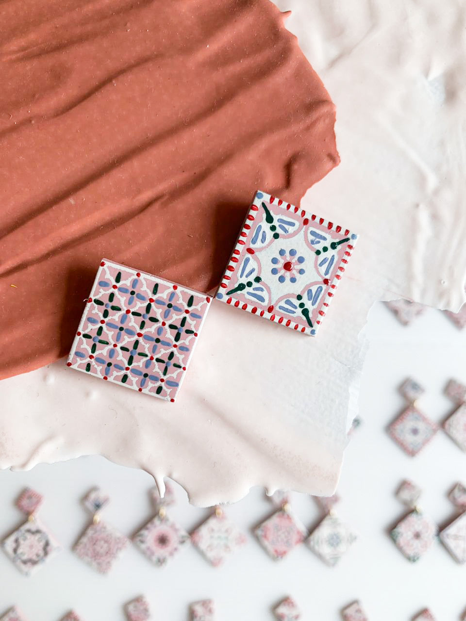 (PREORDER) Pink Tiles Studs