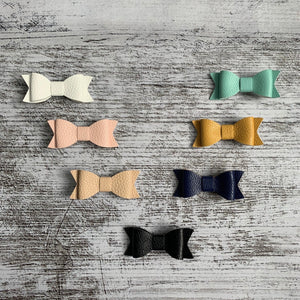 Faux Leather Bow Hair Clips