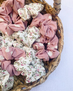 Pink Floral Scrunchies