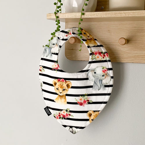 Stripe Floral Baby Animal Bibs