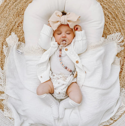Cream Swaddle with Natural Fringe - Standard Size