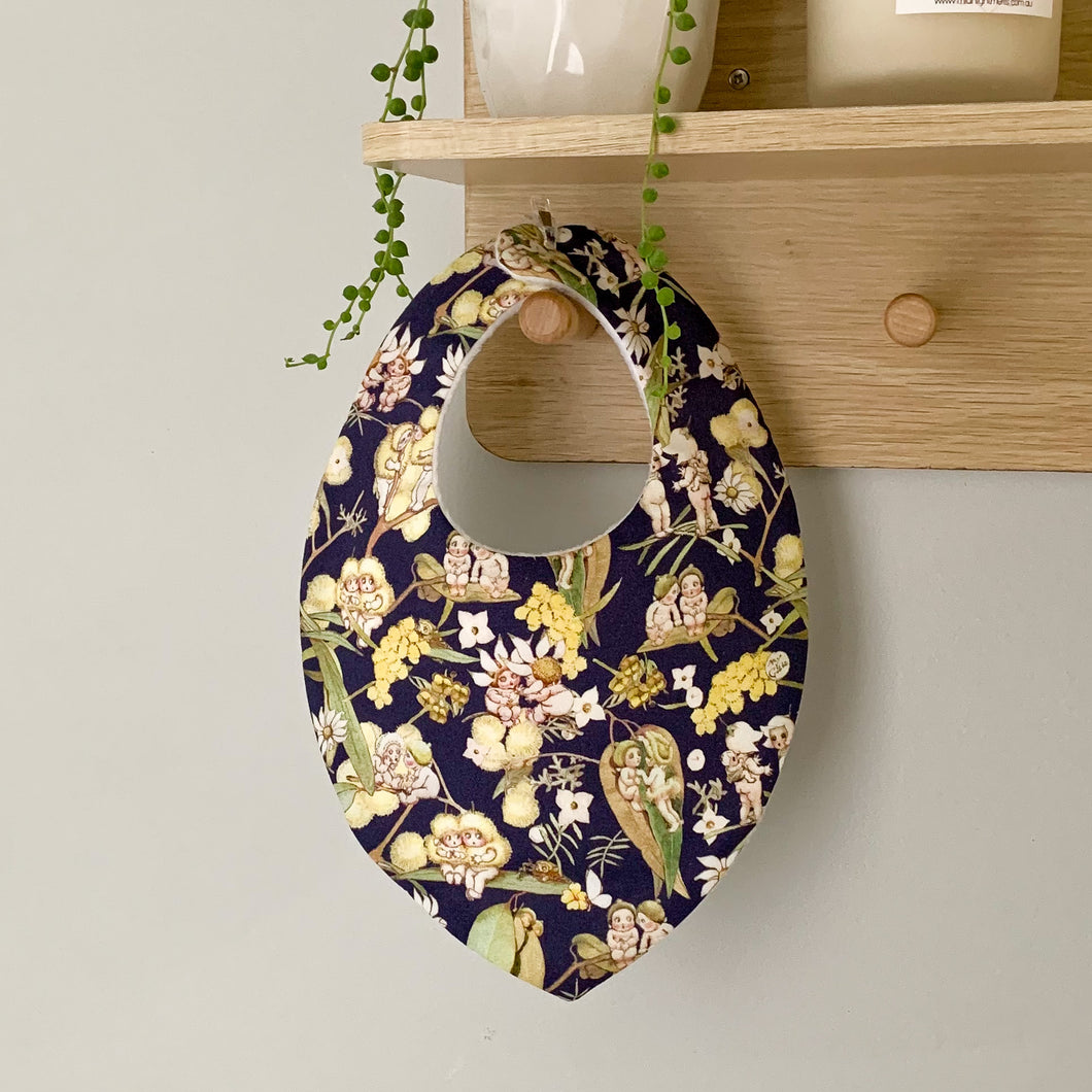 May Gibbs Gossiping Gumnut Bibs - Navy