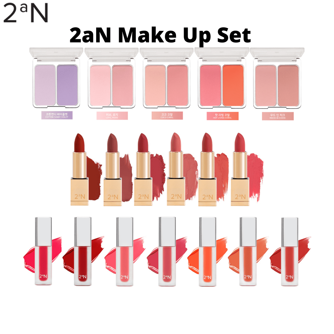 2aN Cheeks And Lips Make up Set --- Lip sticks