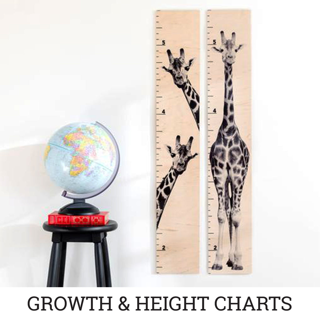 Our simple ruler growth chart with a fun animal print of a giraffe standing tall.