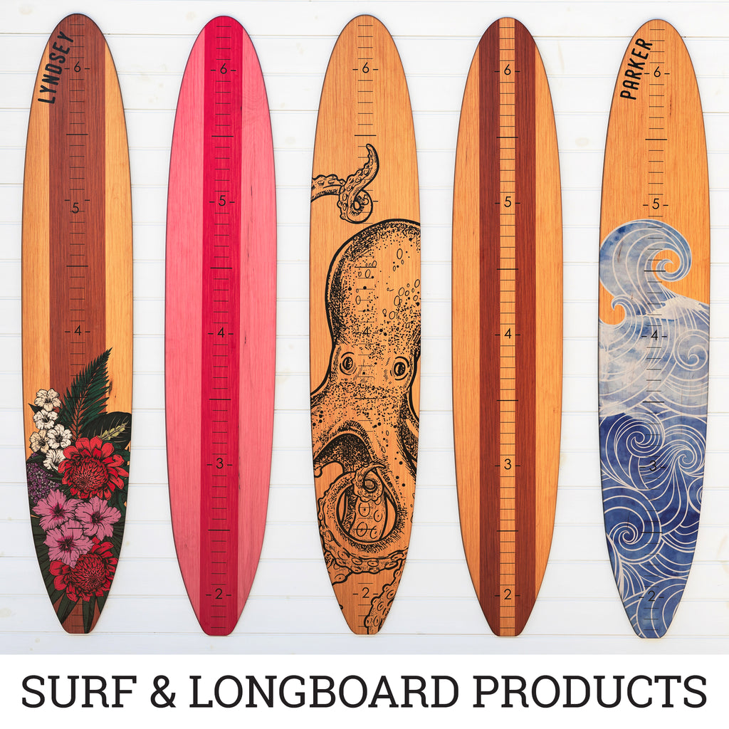 Bright and bold patterned longboard growth charts with tropical flowers and swirling wave designs.