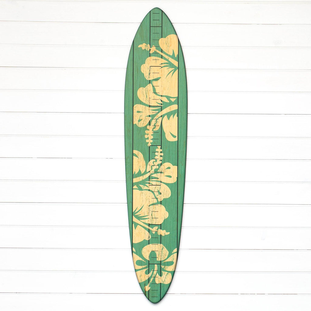 The Vintage Primaries Collection - Surfboard Growth Charts Headwaters Studio Teal Hibiscus No