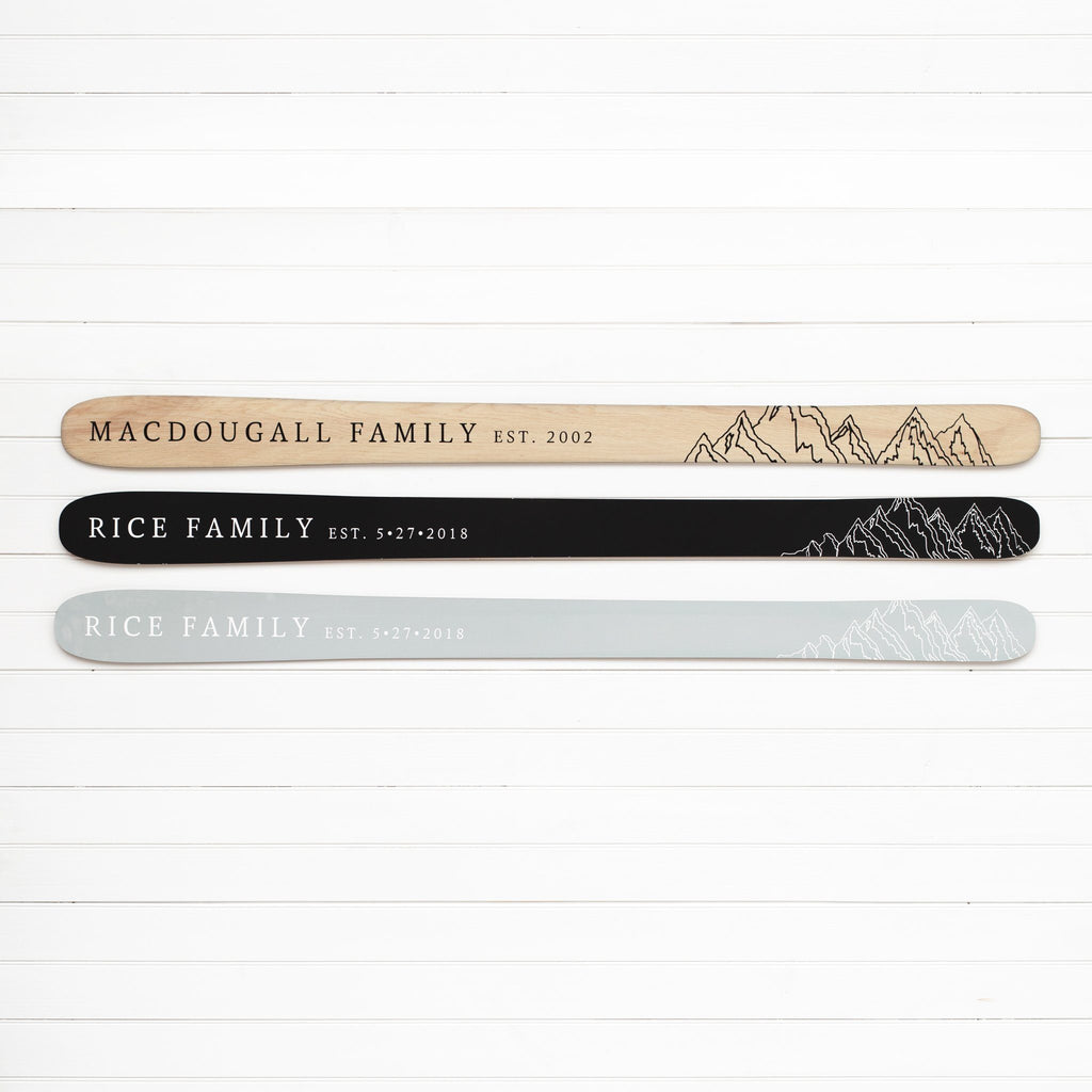 Mountain Family Established Sign - Personalized Wooden Ski