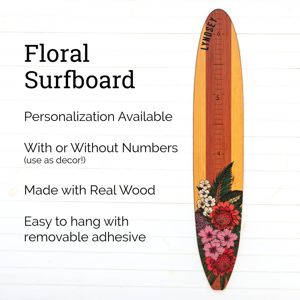 Our floral longboard growth chart can be fully personalized with a name and can come with or without the numerical markings. Use it as a growth chart or as a piece of wall decor!
