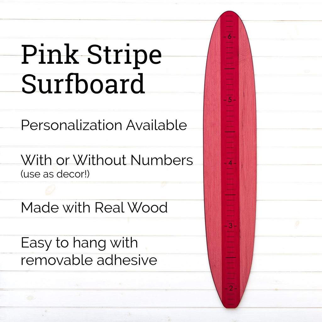 Our pink longboard growth chart can be fully personalized with a name and can come with or without the numerical markings. Use it as a growth chart or as a piece of wall decor!