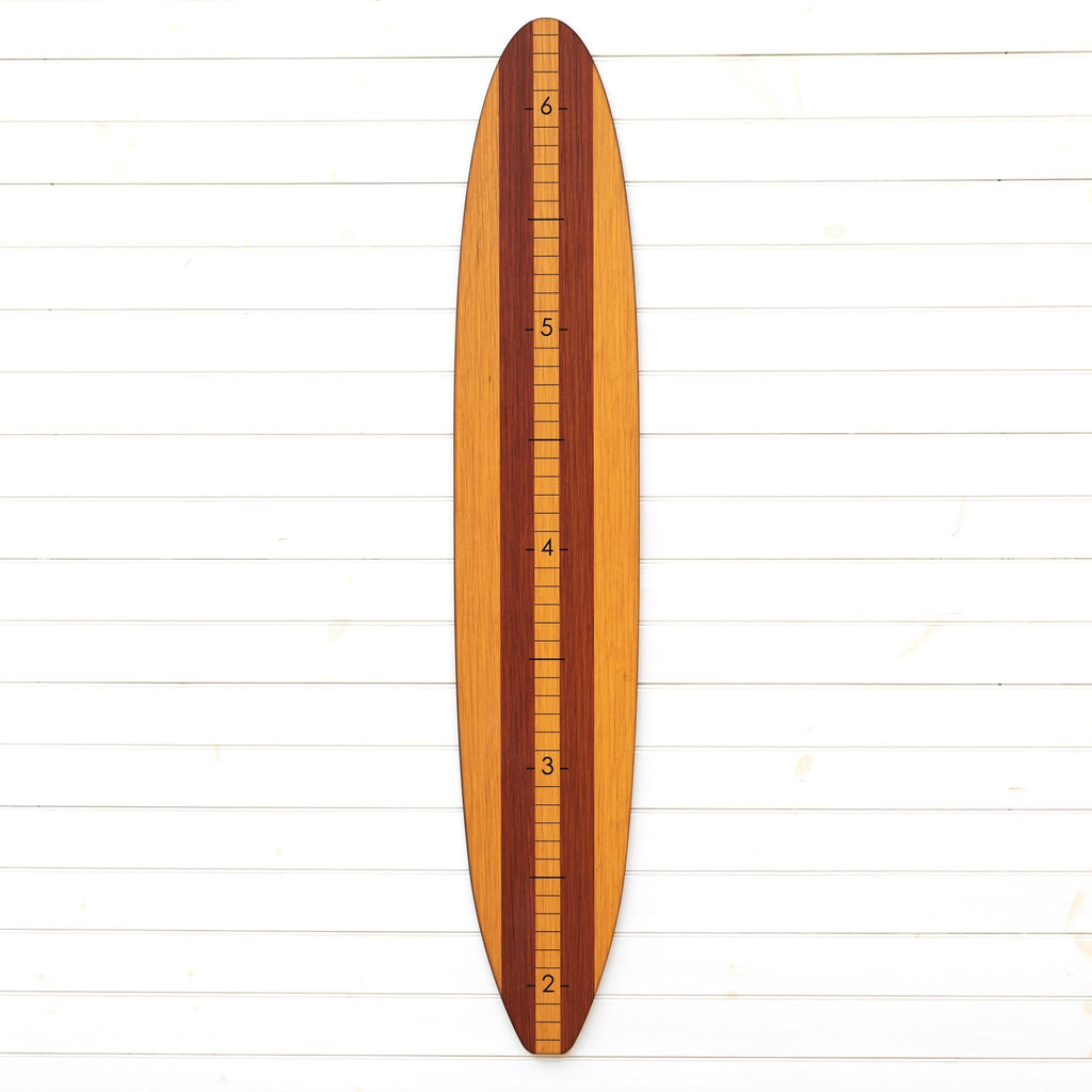 Our wood longboard growth chart can be personalized with a special name or characters up at the top or left plain so you can use it for all of the kids in your family!