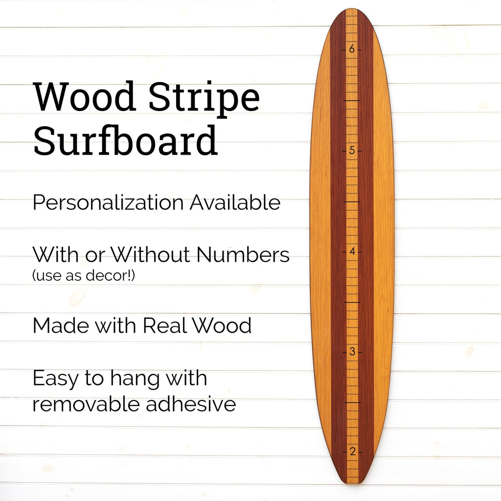 Our wood longboard growth chart can be fully personalized with a name and can come with or without the numerical markings. Use it as a growth chart or as a piece of wall decor!