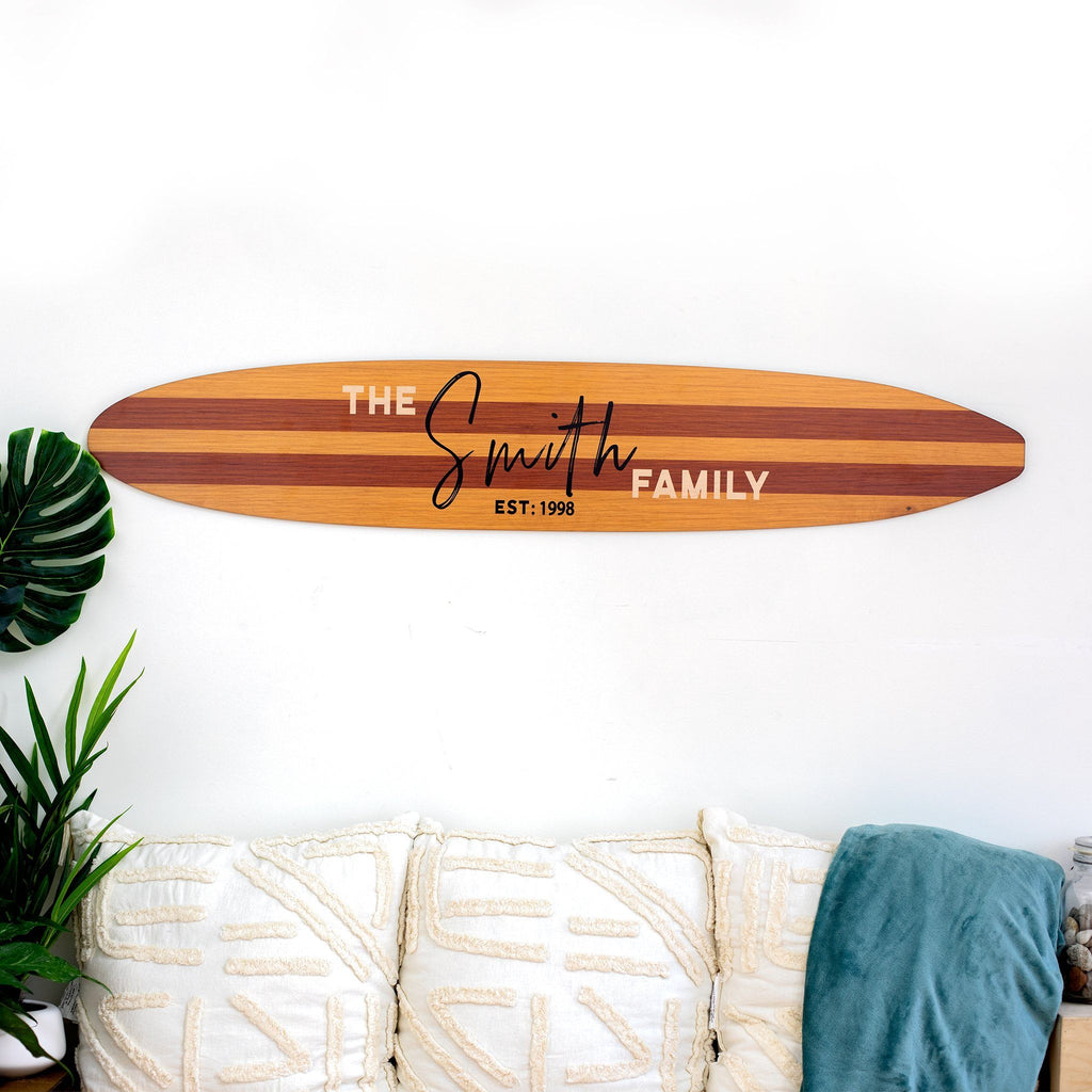 Surfboard Family Established Sign