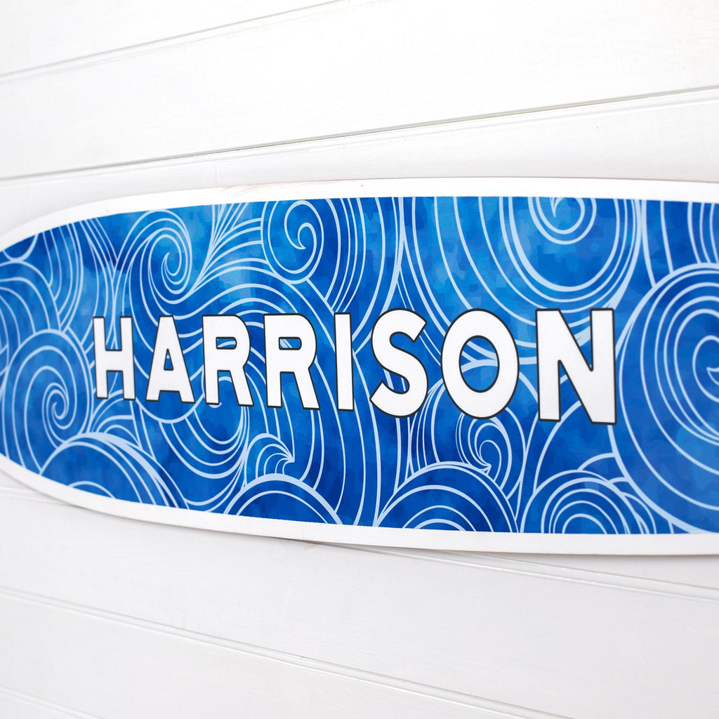 Personalized Waves Name Surfboard Headwaters Studio