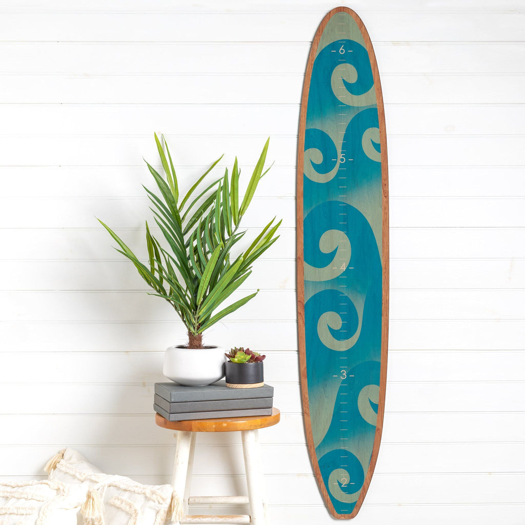 Waves Classic Longboard Surfboard Headwaters Studio decor growth chart sign beach hawaii surfer surf height