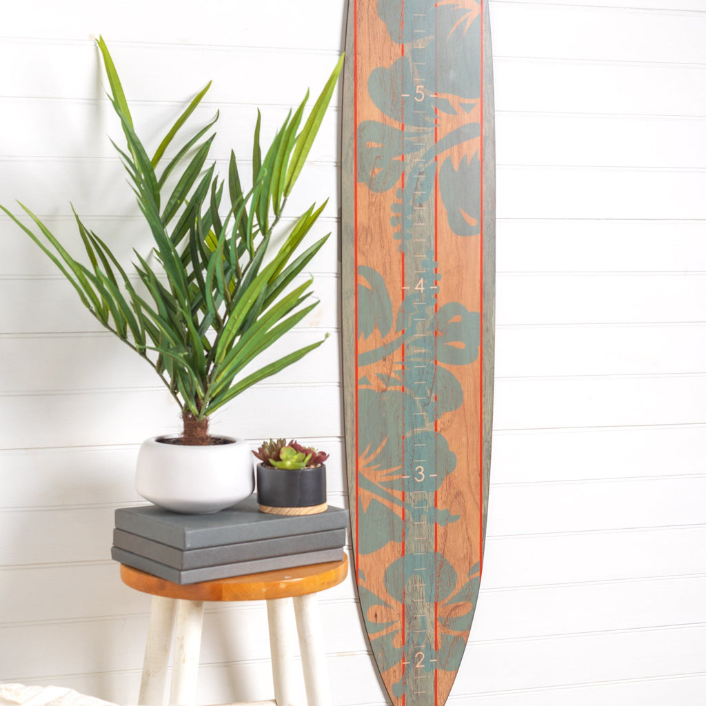 Teal hibiscus Longboard Surfboard Headwaters Studio decor growth chart sign beach hawaii surfer surf height