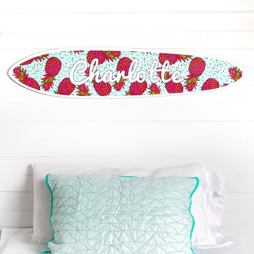Personalized Pineapple Name Surfboard Headwaters Studio