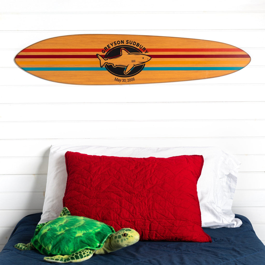 Personalized Striped Surfboard Headwaters Studio