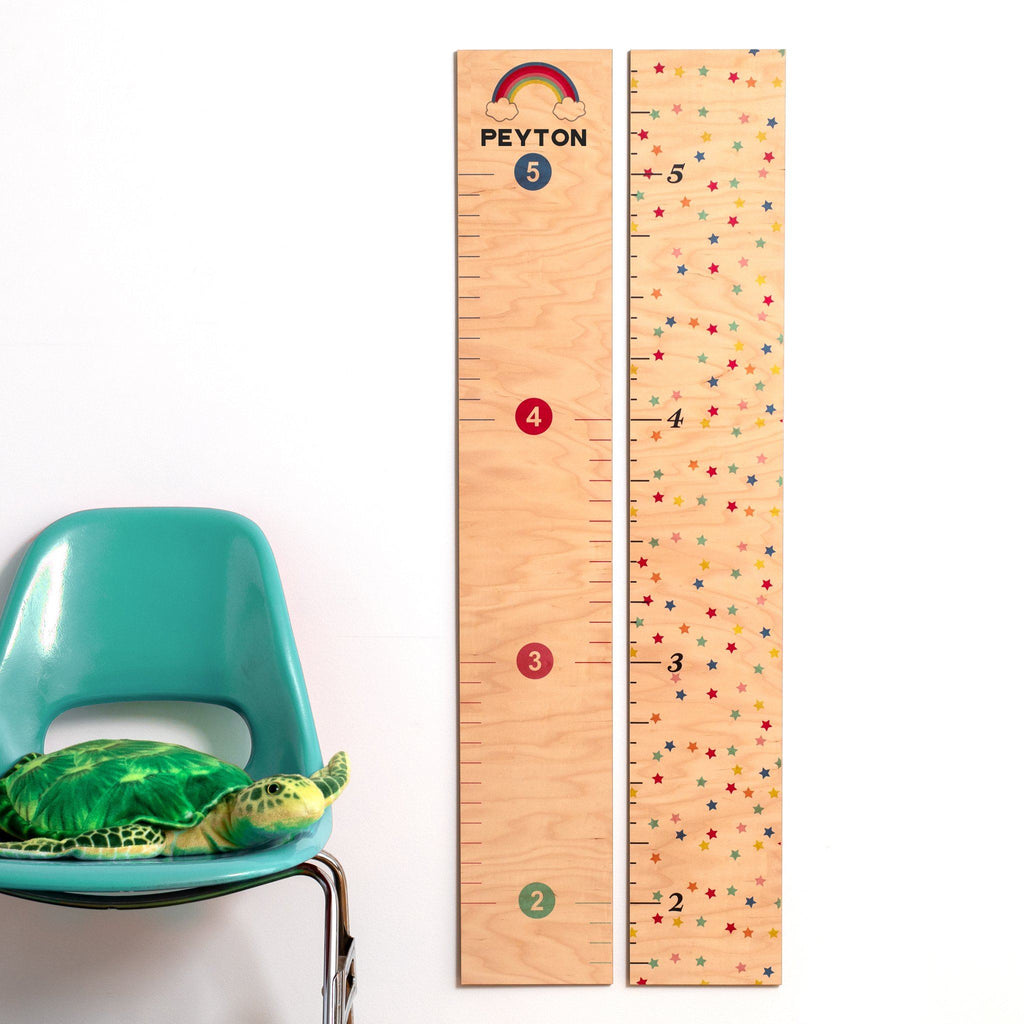 Rainbow and Stars Wooden Growth Charts Growth Chart Headwaters Studio