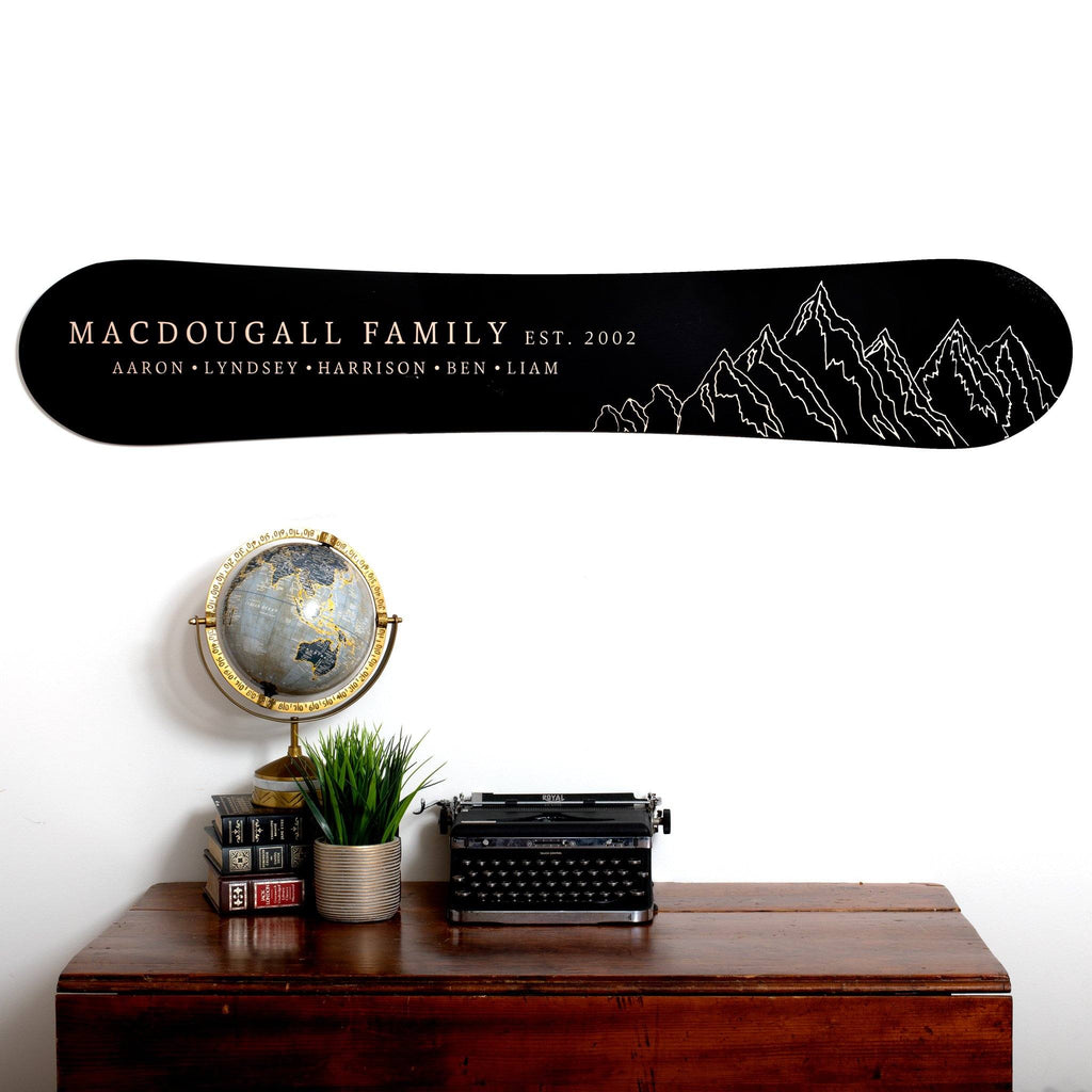 Mountain Family Established Snowboard Sign Headwaters Studio