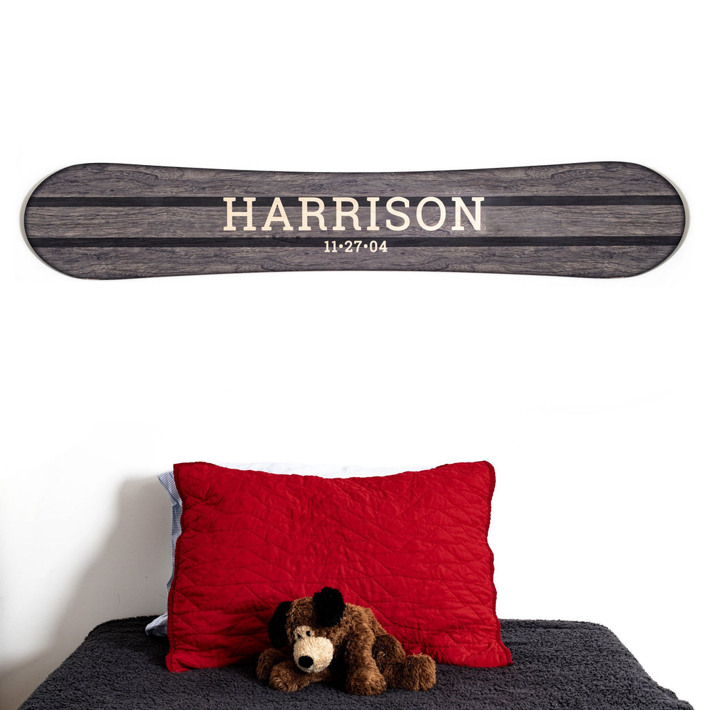 Traditional Personalized Wood Snowboard Sign Headwaters Studio