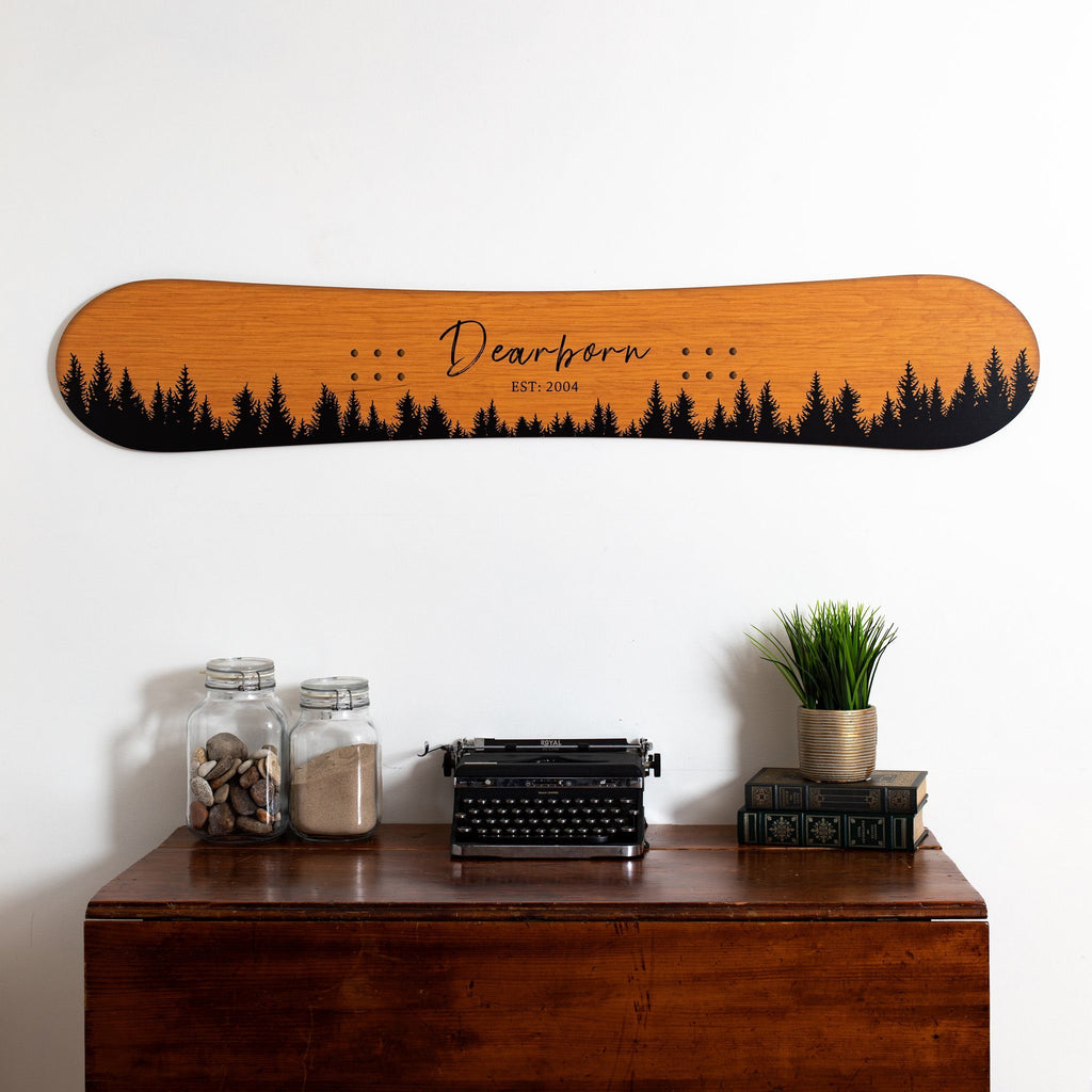 Tree Family Established Snowboard Sign Headwaters Studio Honey wood