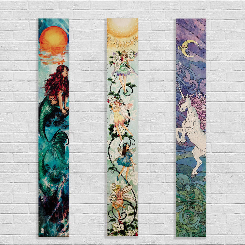 Fairy Unicorn Mermaid Wooden Growth Charts Growth Chart Headwaters Studio