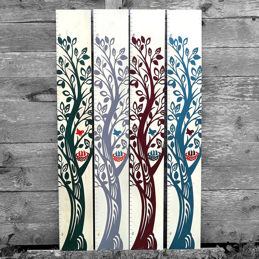 Growing tree wooden growth chart height chart growth chart art girls boys baby