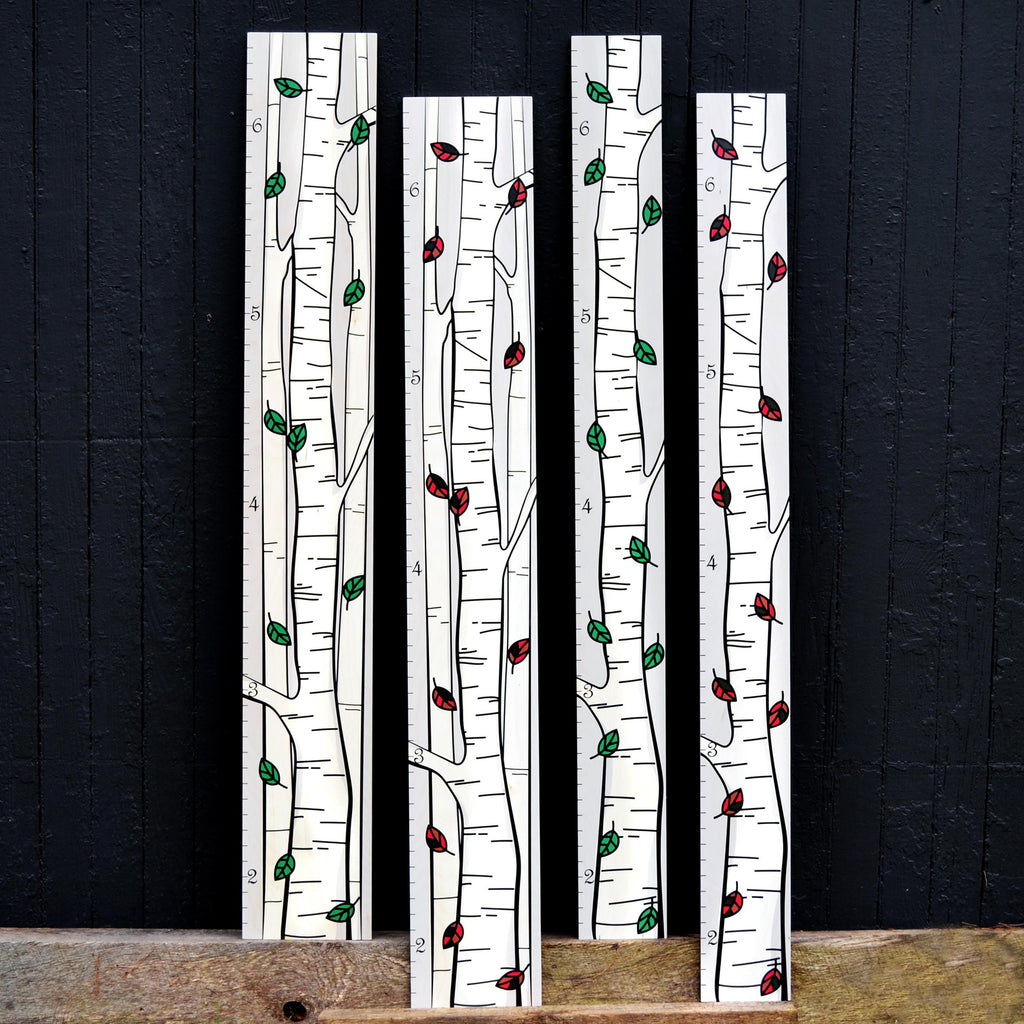 Our birch tree growth chart is offered in two color variants, green and multicolor and also comes in two different widths.