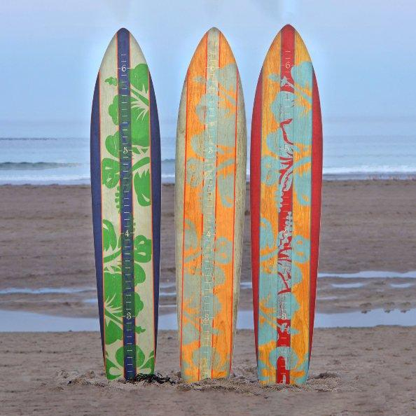 We offer three color palettes to the island collection of surfboard growth charts, navy and green hibiscus, gray teal floral and mahogany light blue flower print.