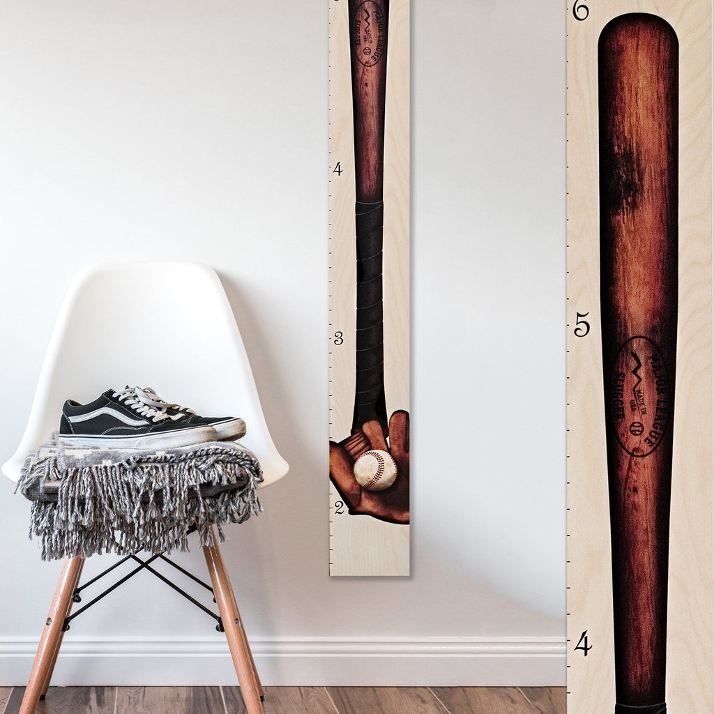 Our growth chart hits a home run with a vintage design of an antique baseball bat, complete with catcher's mitt and ball.