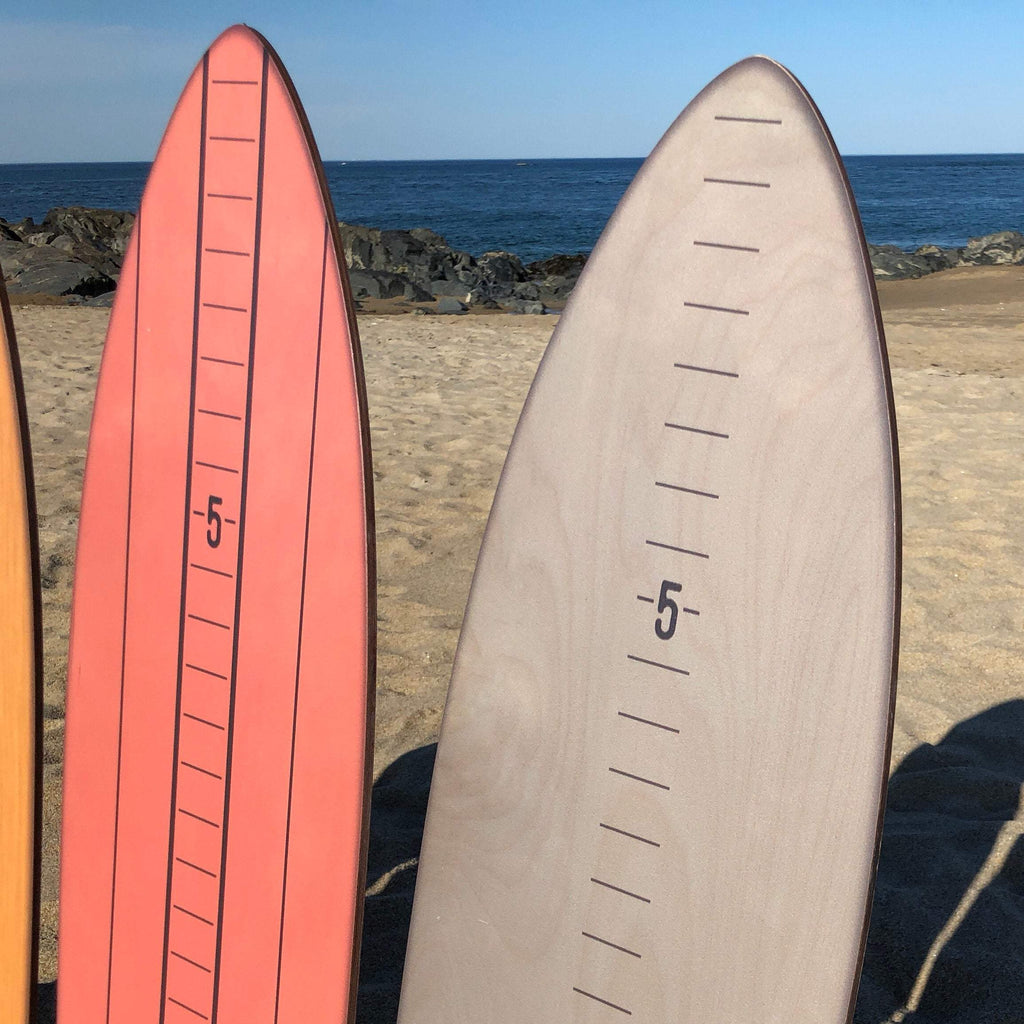 A close-up of the coral wash and gray dipped vintage surfboard growth charts.
