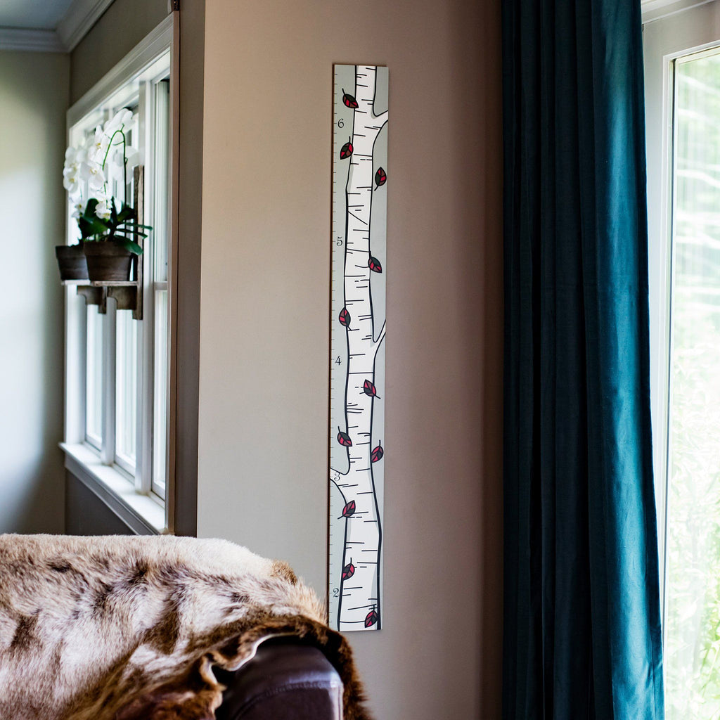 Installation is a breeze with our birch tree wooden growth chart, it can fit on any narrow wall in your home like this picture details.