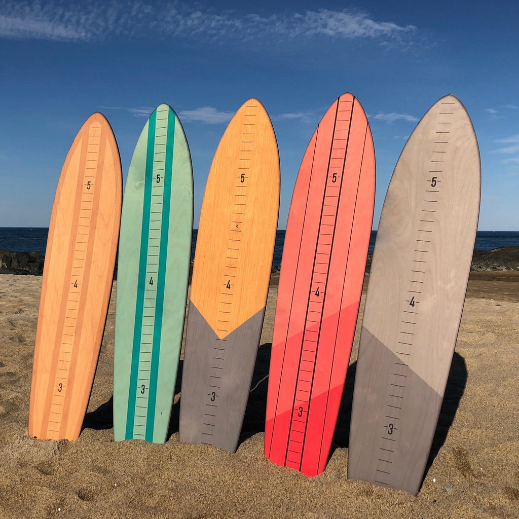 Vintage Brights Wooden Surfboard Growth Charts
