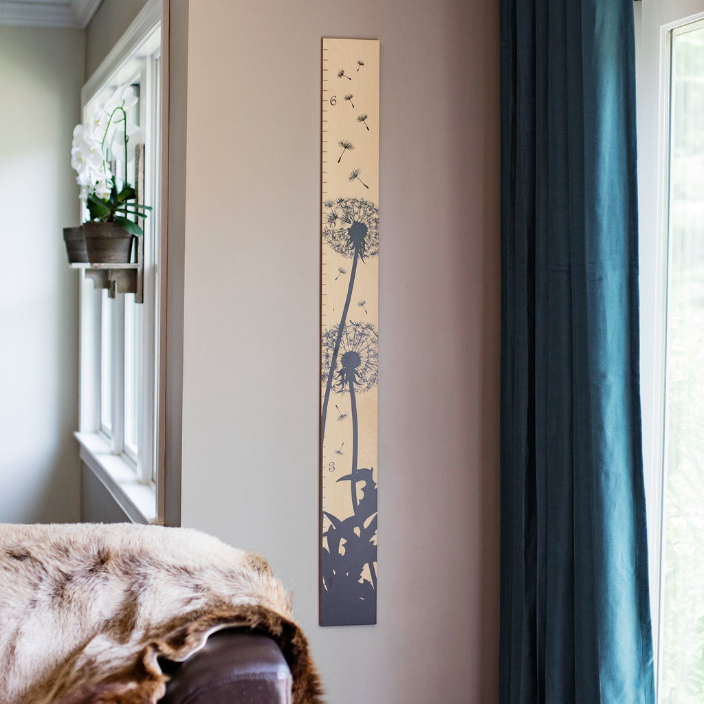 Dandelion Silhouette Modern Wooden Ruler Growth Chart Growth Chart Headwaters Studio