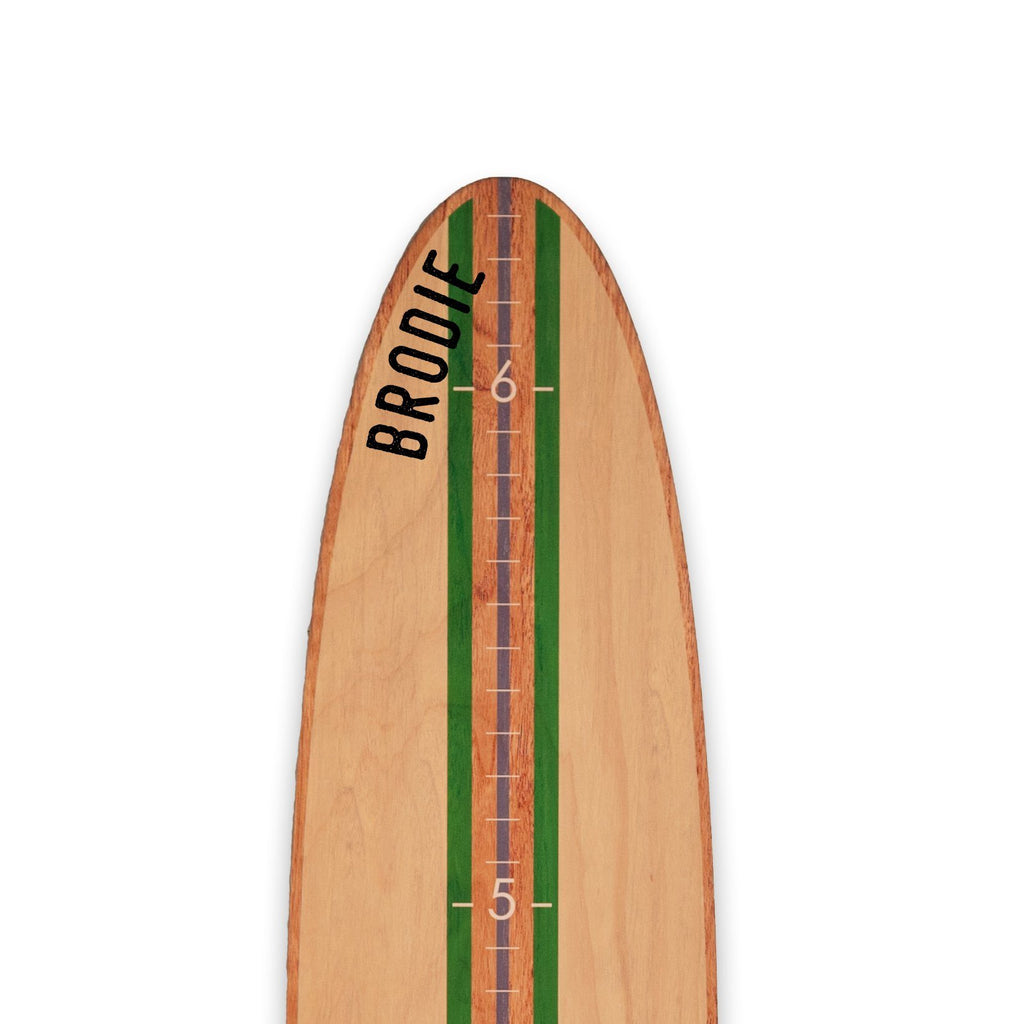 Classic Green Stripe Longboard Surfboard Headwaters Studio