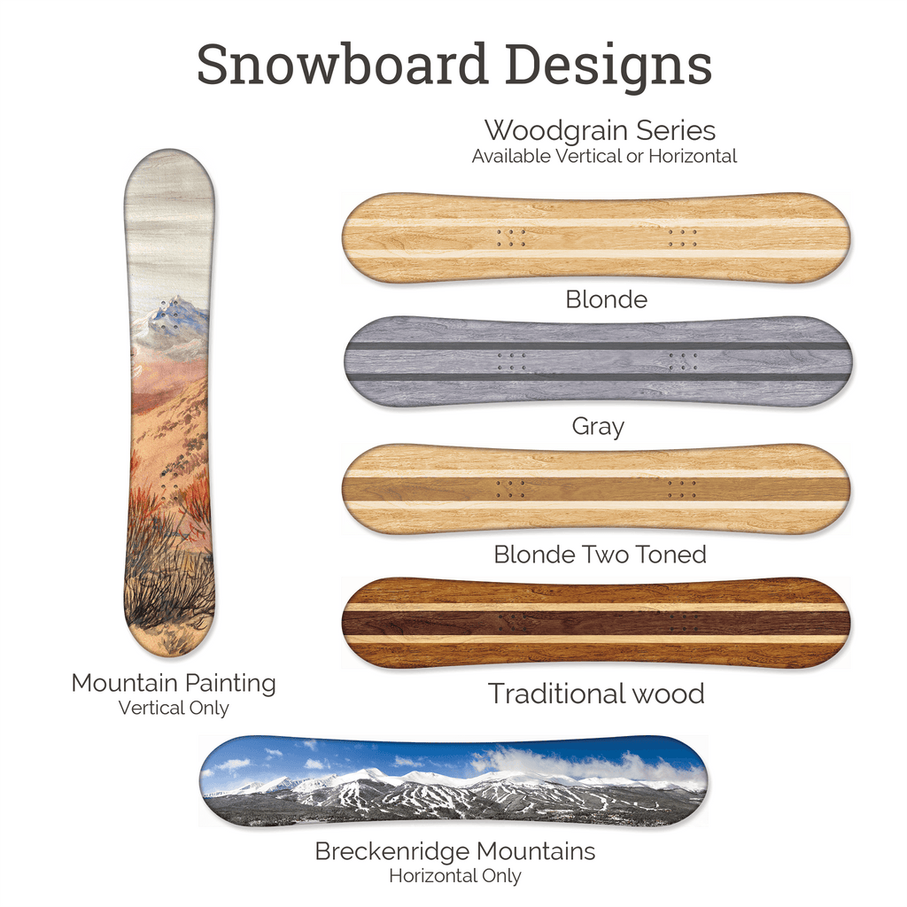 We offer 6 different designs to our alternative wedding guest book snowboards including blonde, gray, natural wood and two different mountain ranges.