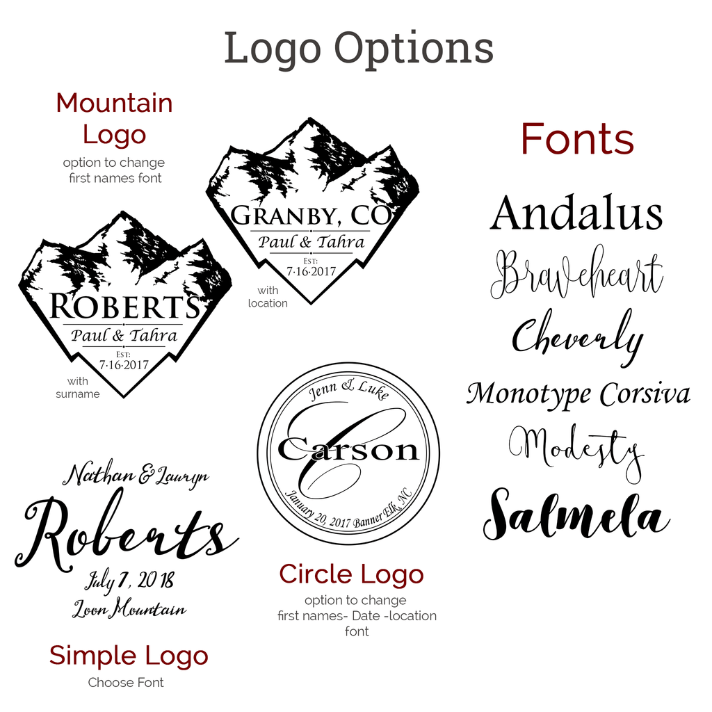 Further customize your alternative wedding guest book snowboard with different logo options, including the last name a circular or mountain logo shape and font customization. Fonts include andalus, monotype corsiva, cheverly and other styles!