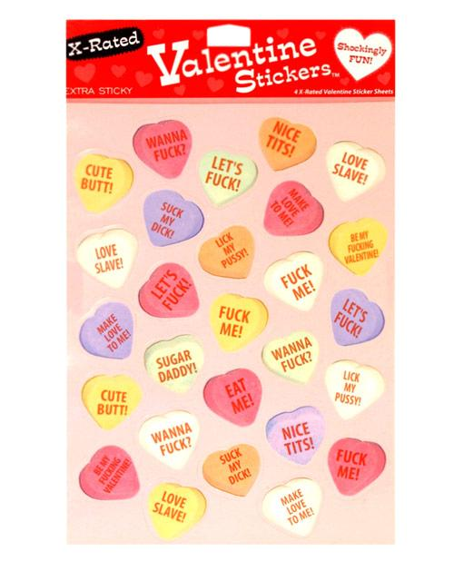 4 X-rated Valentine Sticker Sheets - 27 Stickers Per Sheet - Omega Pleasure