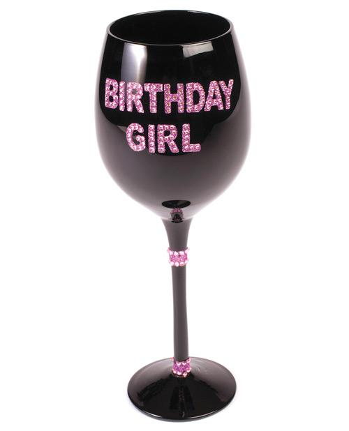 Birthday Girl Wine Glass W-pink Stones - Black - Omega Pleasure