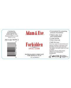 Adam & Eve Forbidden Water Based Anal Lube - 1 O - Omega Pleasure