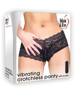 Adam & Eve Vibrating Crotchless Panty - Black - Omega Pleasure