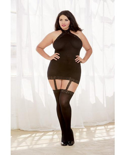 Sheer Dress W-lace Trim, Attached Garters & Thigh High Stockings (thong Not Included) Black Qn - Omega Pleasure